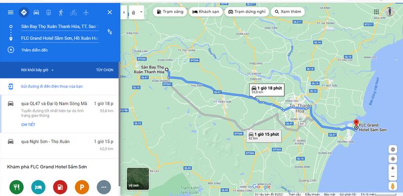 Bản đồ Sân bay đến FLC