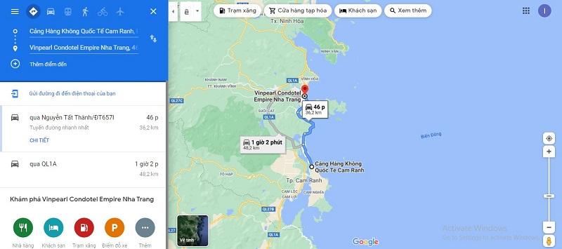 Bản đồ từ sân bay Cam Ranh đến Vinpearl Condotel Empire Nha Trang