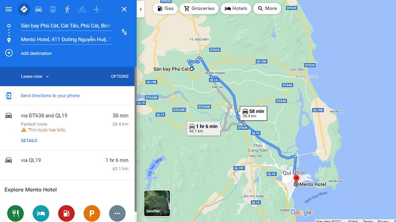 Khoảng cách từ sân bay Phù Cát tới Mento Hotel Quy Nhơn