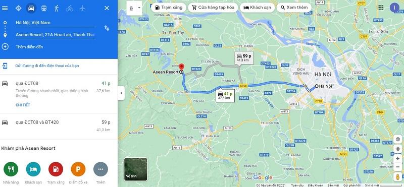 trung tâm Hà Nội đến Asean Resort & Spa Thạch Thất