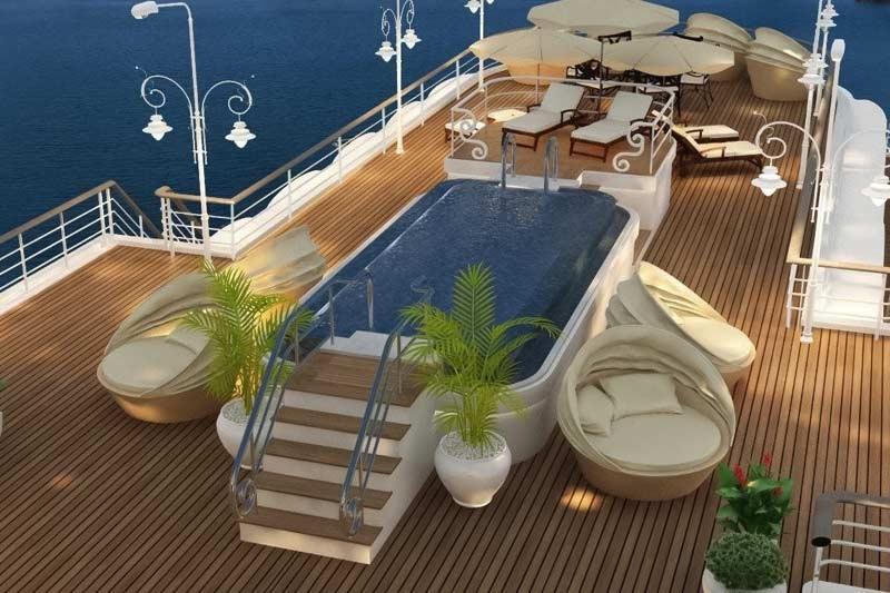 Du thuyền paradise elegance Cruise khu vực sundeck