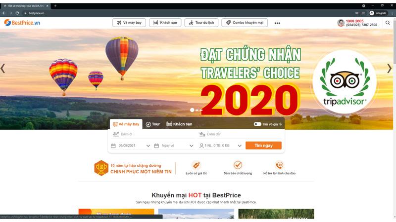 Đặt khách sạn tại BestPrice.vn