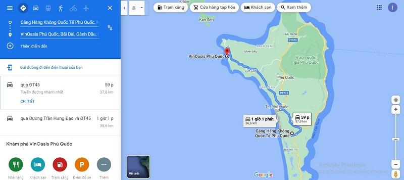Bản đồ di chuyển từ sân bay Phú Quốc đến VinOasis Phú Quốc