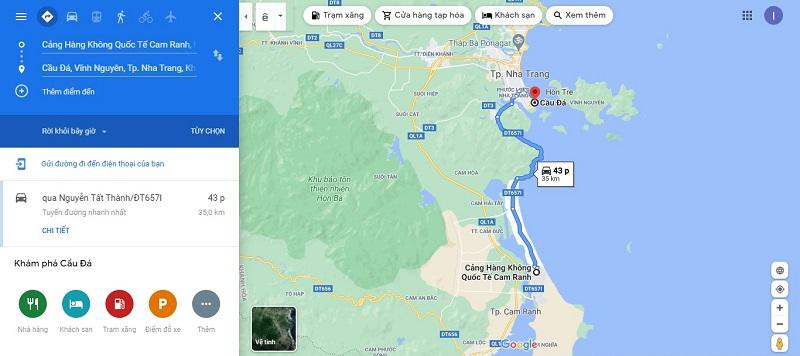 Sân bay Cam Ranh đến cảng Cầu Đá