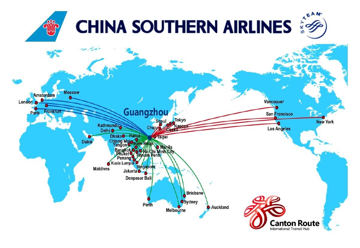 Đường bay quốc tế của hãng China Southern Airlines