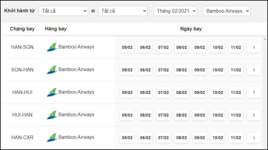 Lịch bay hãng Bamboo Airways