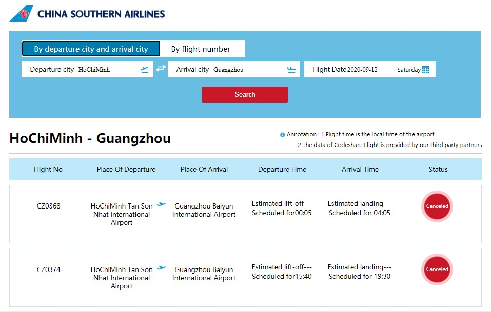 Lịch bay của China Southern Airlines trên website