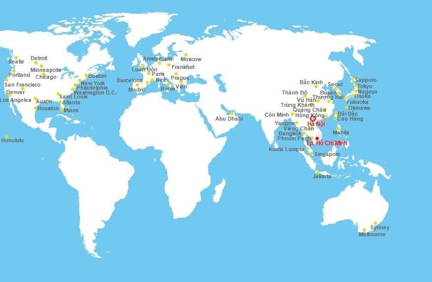 Đường bay quốc tế Vietnam Airlines