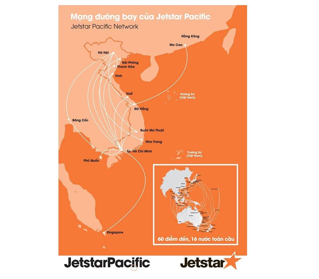 Đường bay nội địa hãng Pacific Airlines (Jetstar)