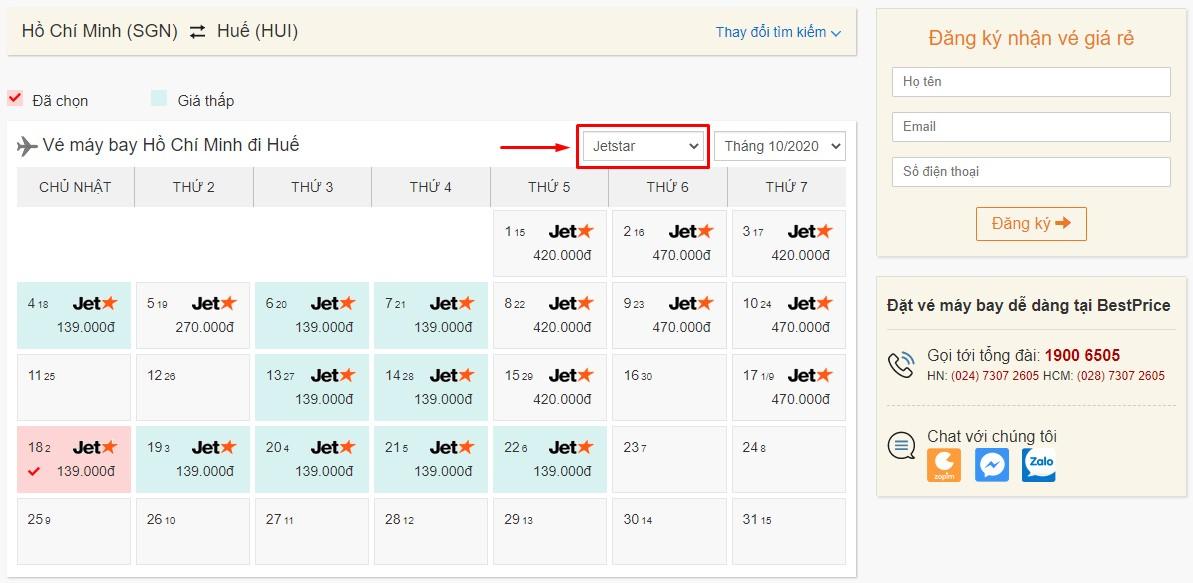 Săn vé đi Huế hãng Pacific Airlines (Jetstar) tại bestprice.vn