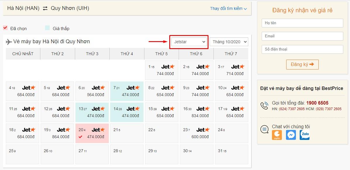 Săn vé đi Quy Nhơn hãng Jetstar (Pacific Airlines) tại bestprice.vn