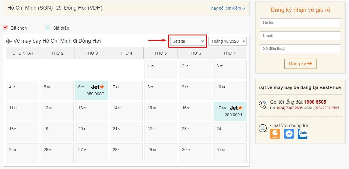 Săn vé đi Đồng Hới hãng Pacific Airlines tại bestprice.vn