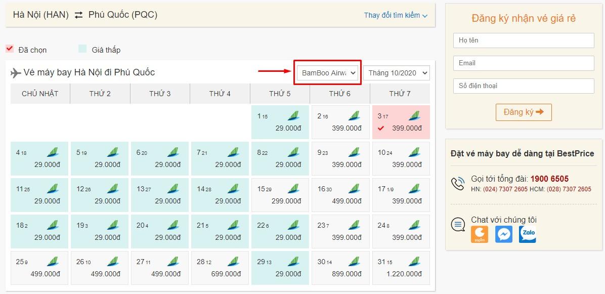 Săn vé đi Phú Quốc hãng Bamboo Airways tại bestprice.vn