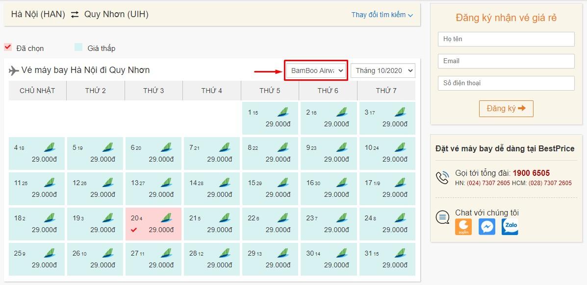 Săn vé đi Quy Nhơn hãng Bamboo Airways tại bestprice.vn
