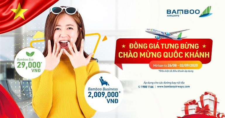 Khuyến mại Bamboo Airways: Đồng giá tưng bừng - Chào mừng Quốc khánh