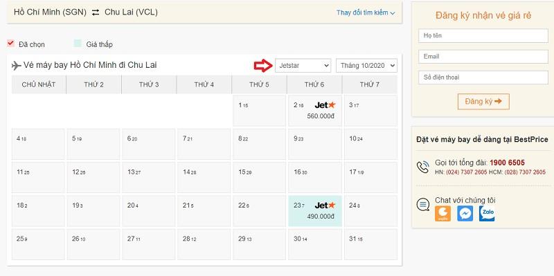 Săn vé đi Chu Lai hãng Jetstar (Pacific Airlines) tại bestprice.vn