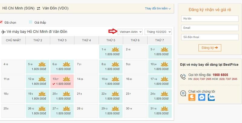 Săn vé đi Vân Đồn hãng Vietnam Airlines tại bestprice.vn