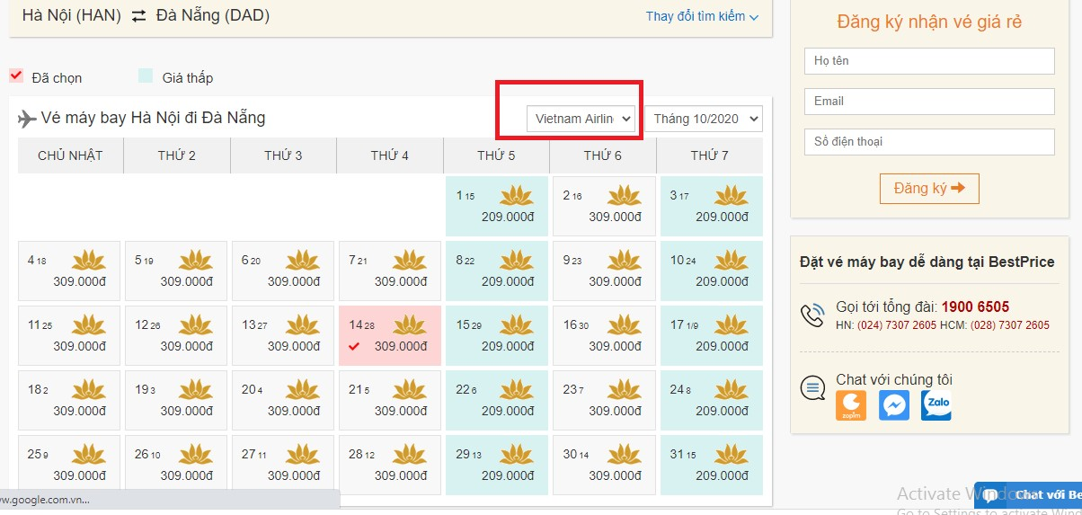 Giá vé khuyến mại Vietnam Airlines