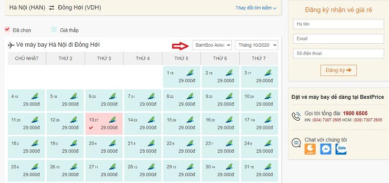 Săn vé đi Đồng Hới hãng Bamboo Airways tại bestprice.vn