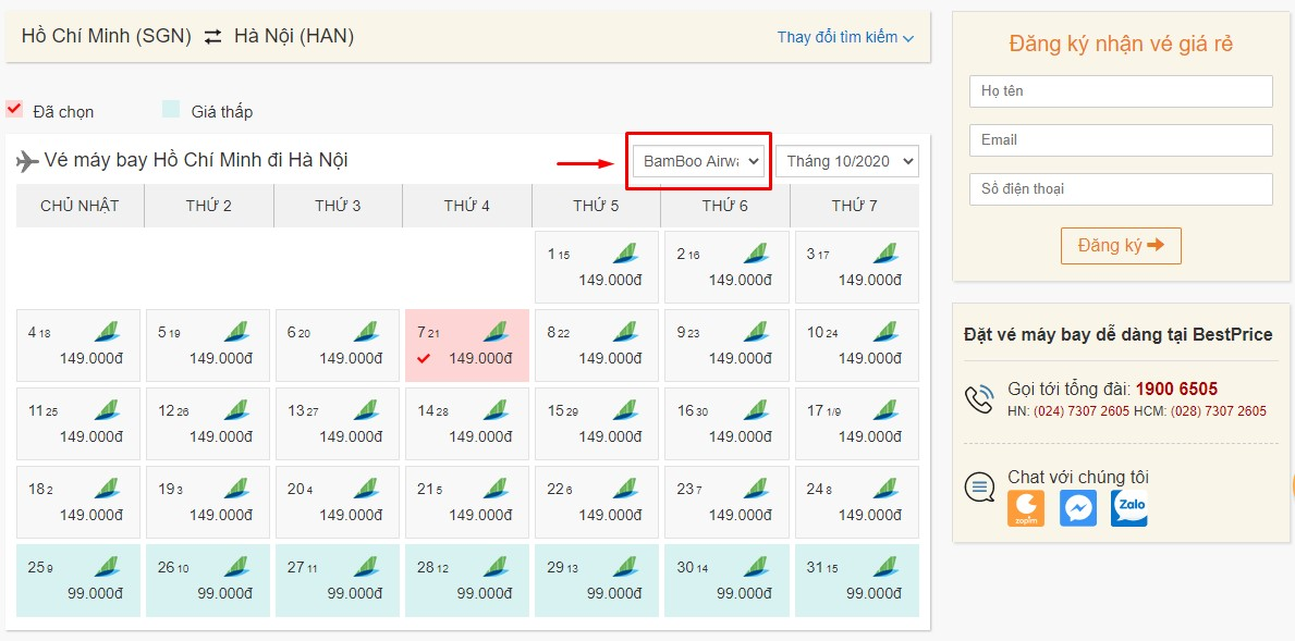 Săn vé đi Hà Nội hãng Bamboo Airways tại bestprice.vn