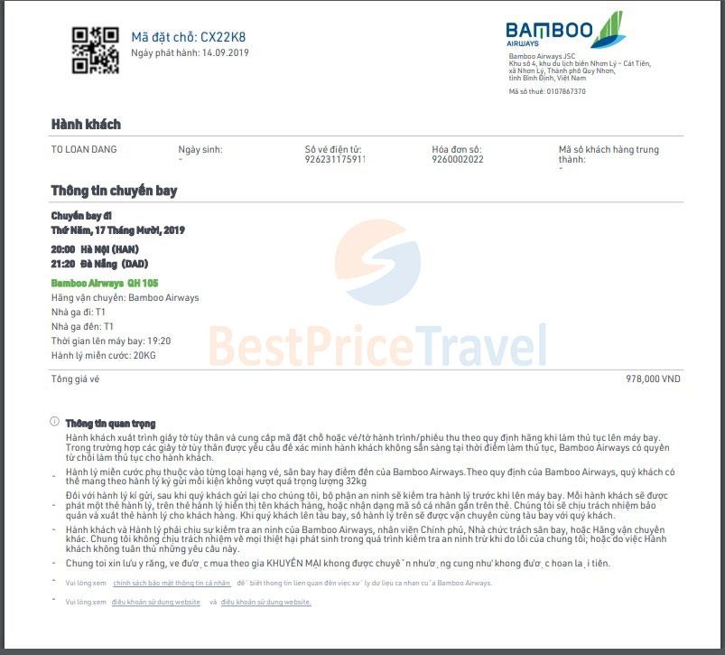 Vé máy bay điện tử mua tại hãng hàng không