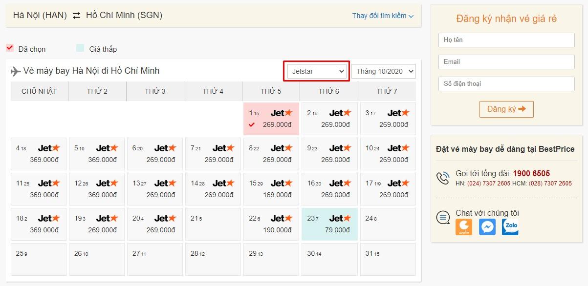 Vé máy bay khuyến mại của Pacific Airlines tại bestprice.vn