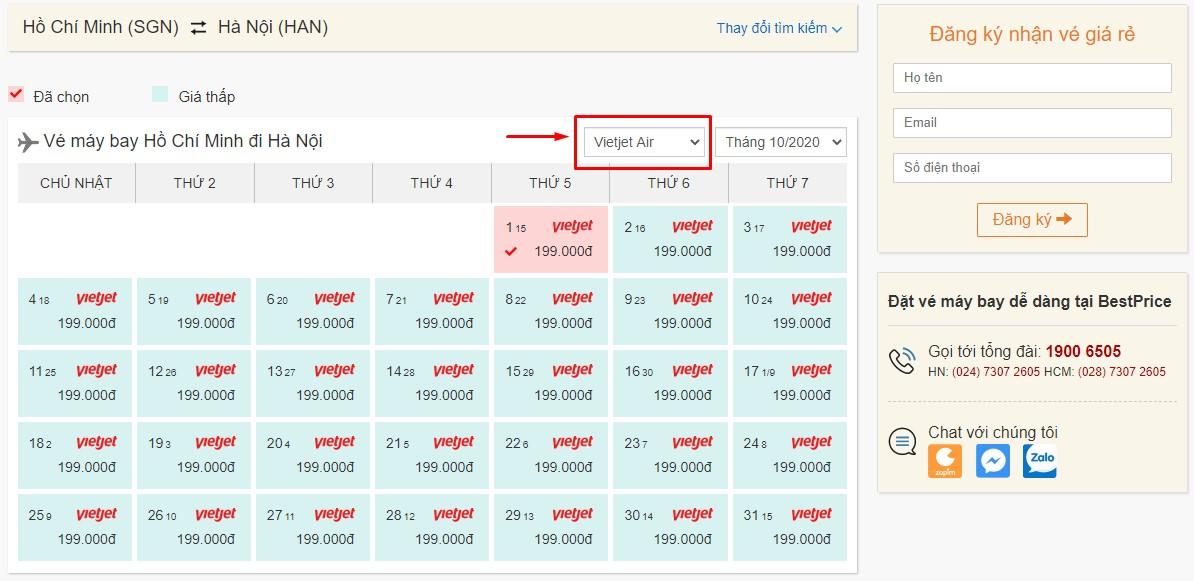 Săn vé máy bay đi Hà Nội hãng Vietjet Air tại bestprice.vn