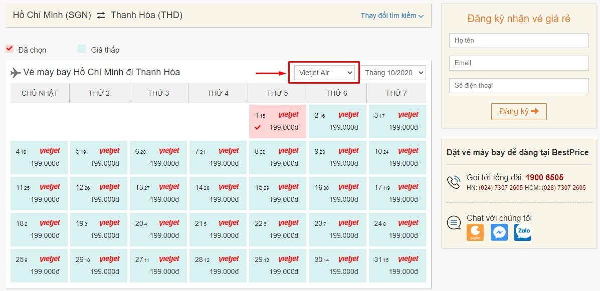 Săn vé đi Thanh Hóa hãng Vietjet Air tại bestprice.vn