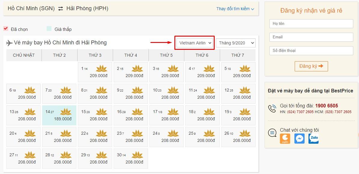 Săn vé đi Hải Phòng hãng Vietnam Airlines tại bestprice.vn