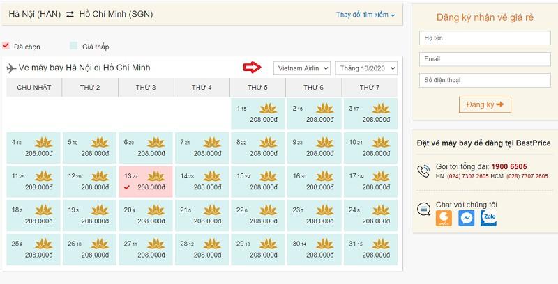 Săn vé đi Hồ Chí Minh hãng Vietnam Airlines tại bestprice.vn