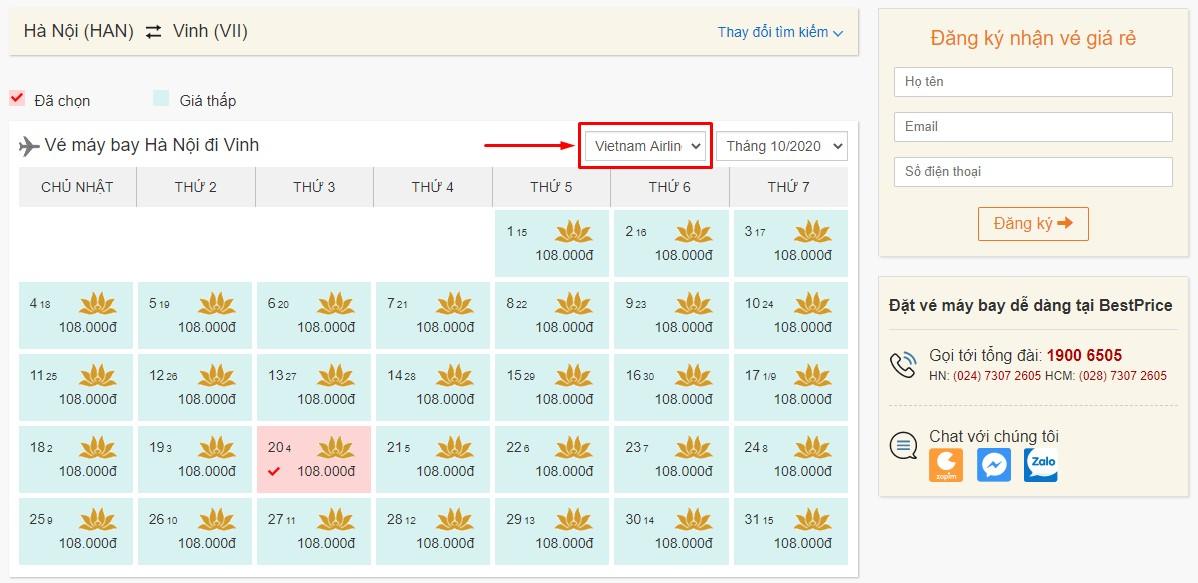 Săn vé đi Vinh hãng Vietnam Airlines tại bestprice.vn