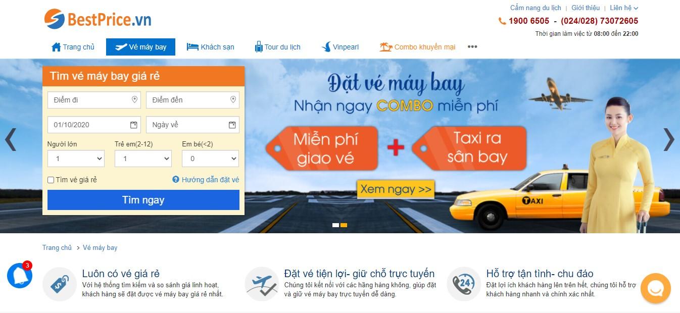 Website bestprice.vn - tổng đại lý cấp 1 của hãng hàng không China Southern Airlines