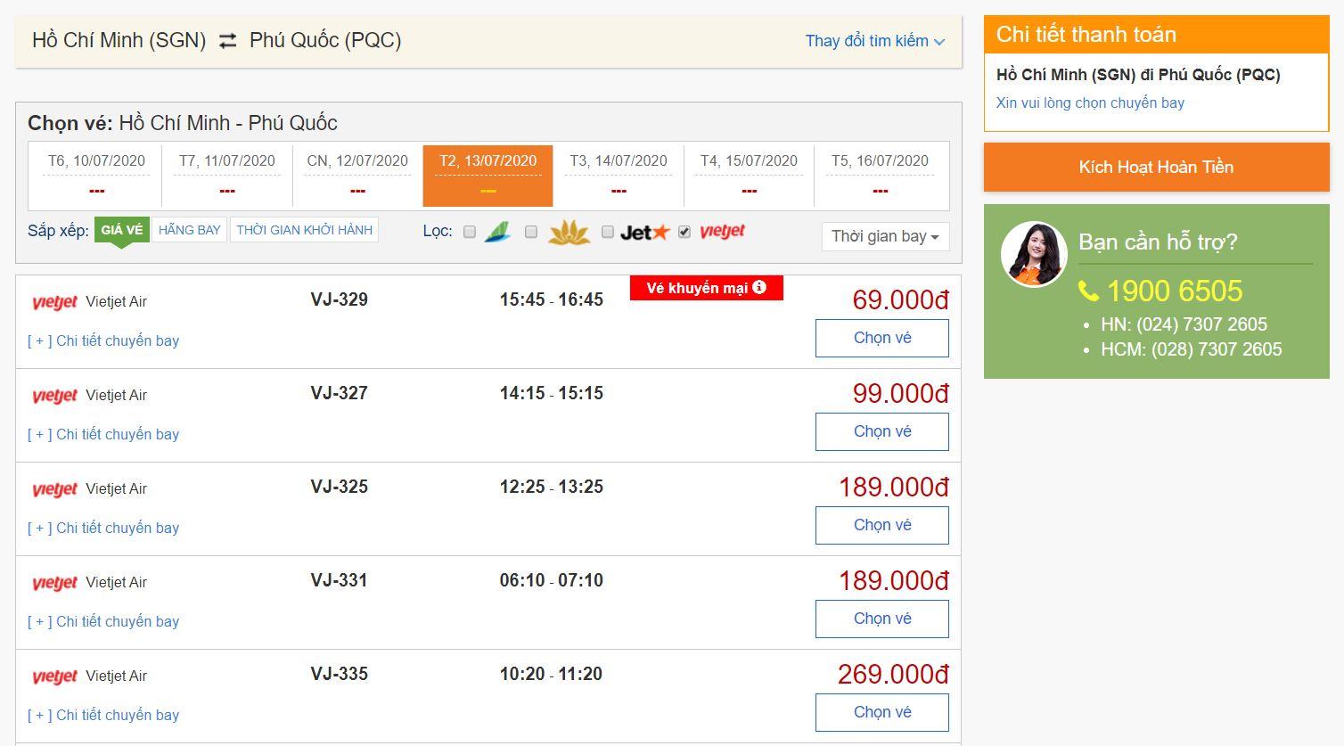 Giá vé máy bay đi Phú Quốc Vietjet Air
