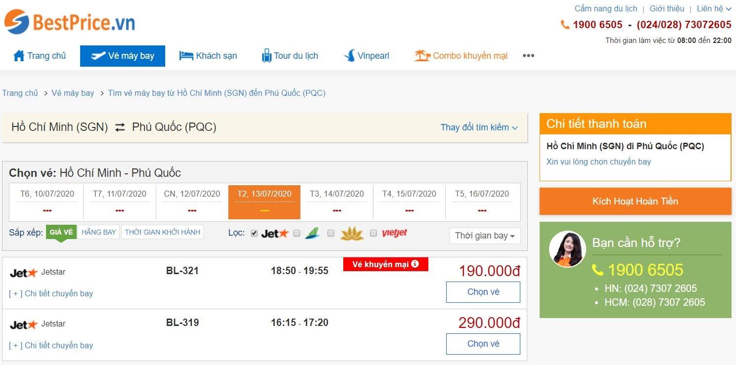 Giá vé máy bay đi Phú Quốc Jetstar Pacific Airlines