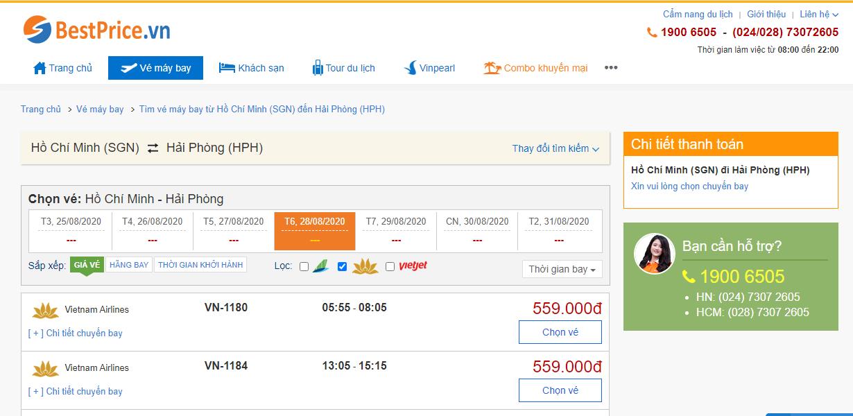 Vé máy bay đi Hải Phòng hãng Vietnma Airlines