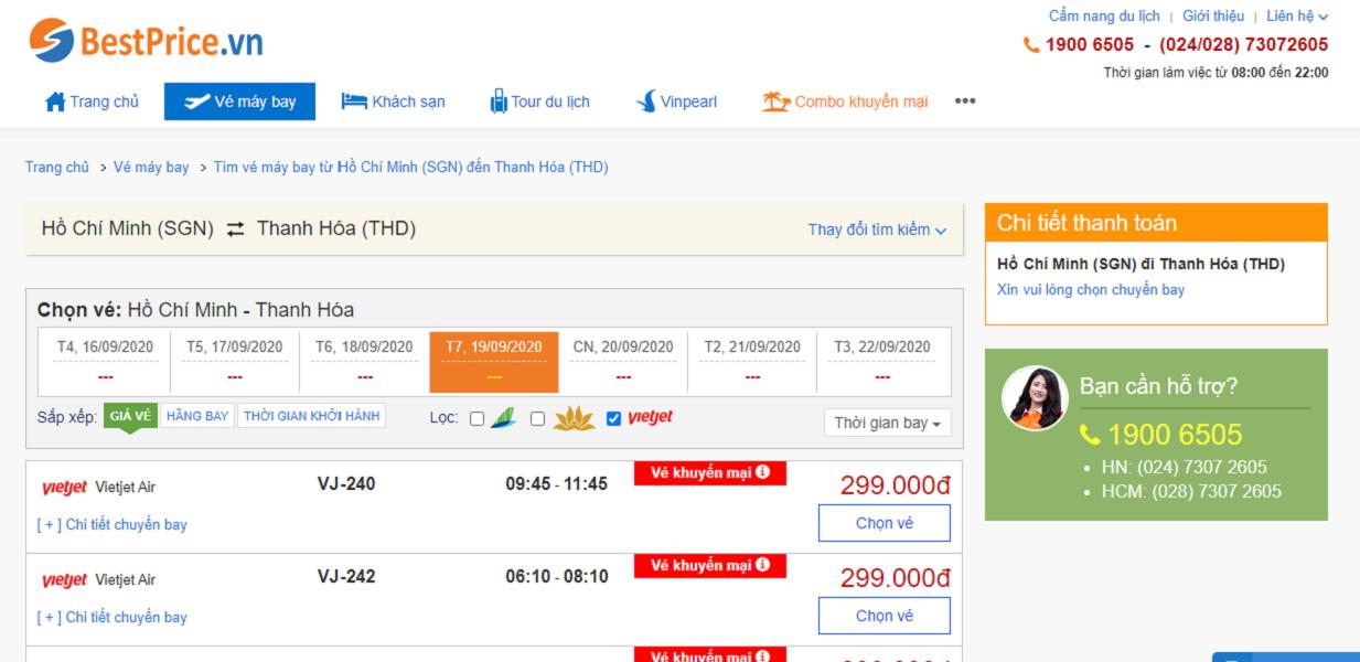 Vé máy bay đi Thanh Hóa hãng Vietjet