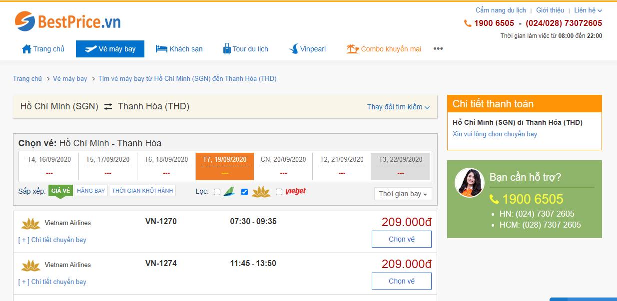 Vé máy bay đi Thanh Hóa hãng Vietnam Airlines