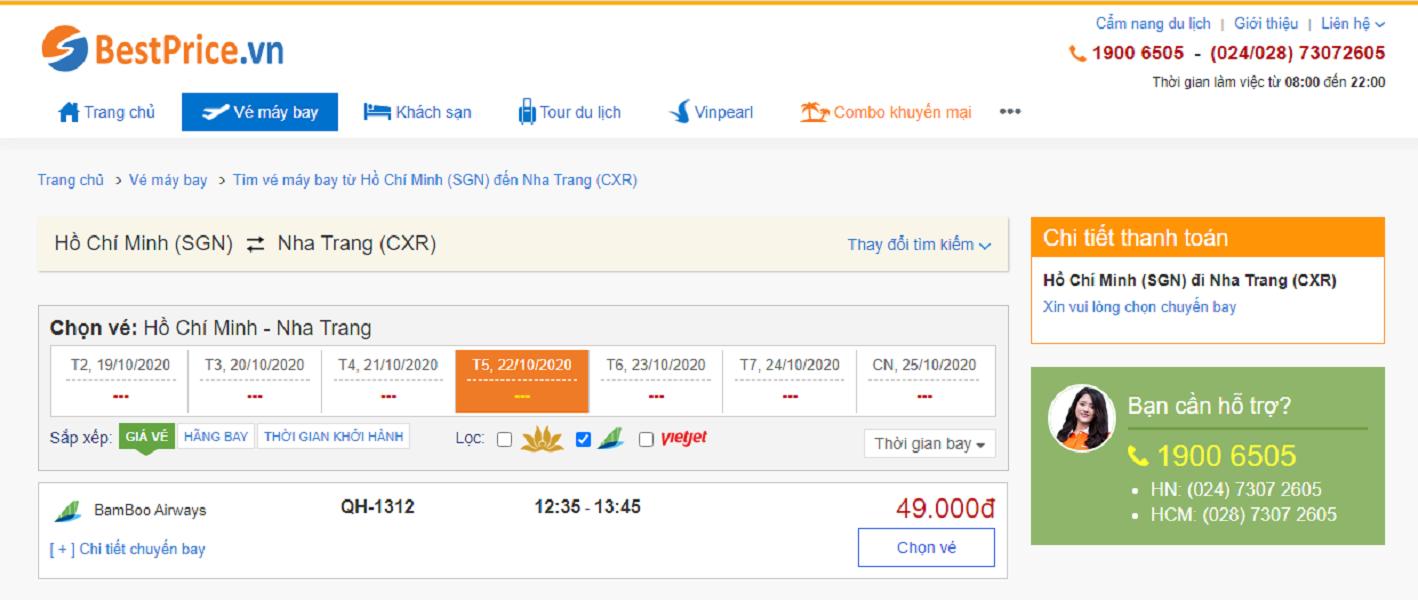 Vé máy bay đi Nha Trang hãng Bamboo Airways