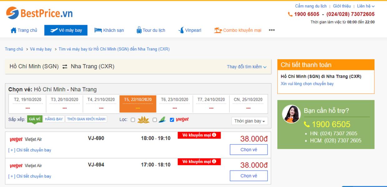 Vé máy bay đi Nha Trang hãng Vietjet Air