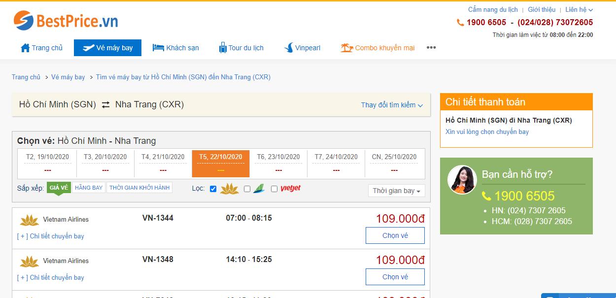 Vé máy bay đi Nha Trang hãng Vietnam Airlines