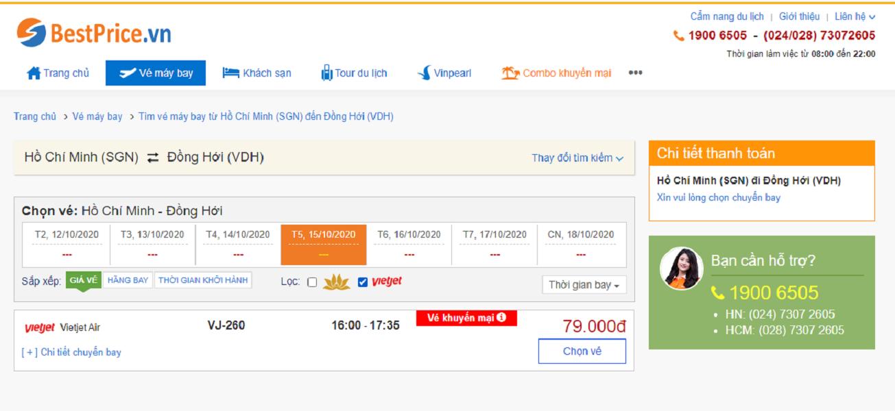 Vé máy bay đi Đồng Hới Vietjet Air