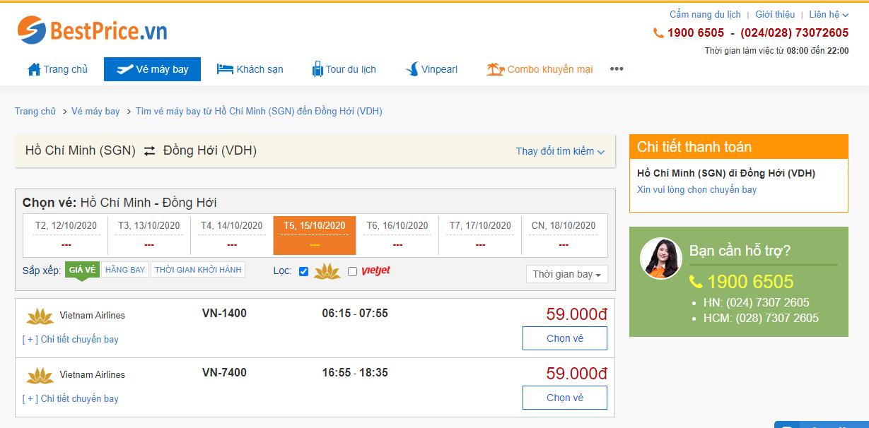 Vé máy bay đi Đồng Hới Vietnam Airlines
