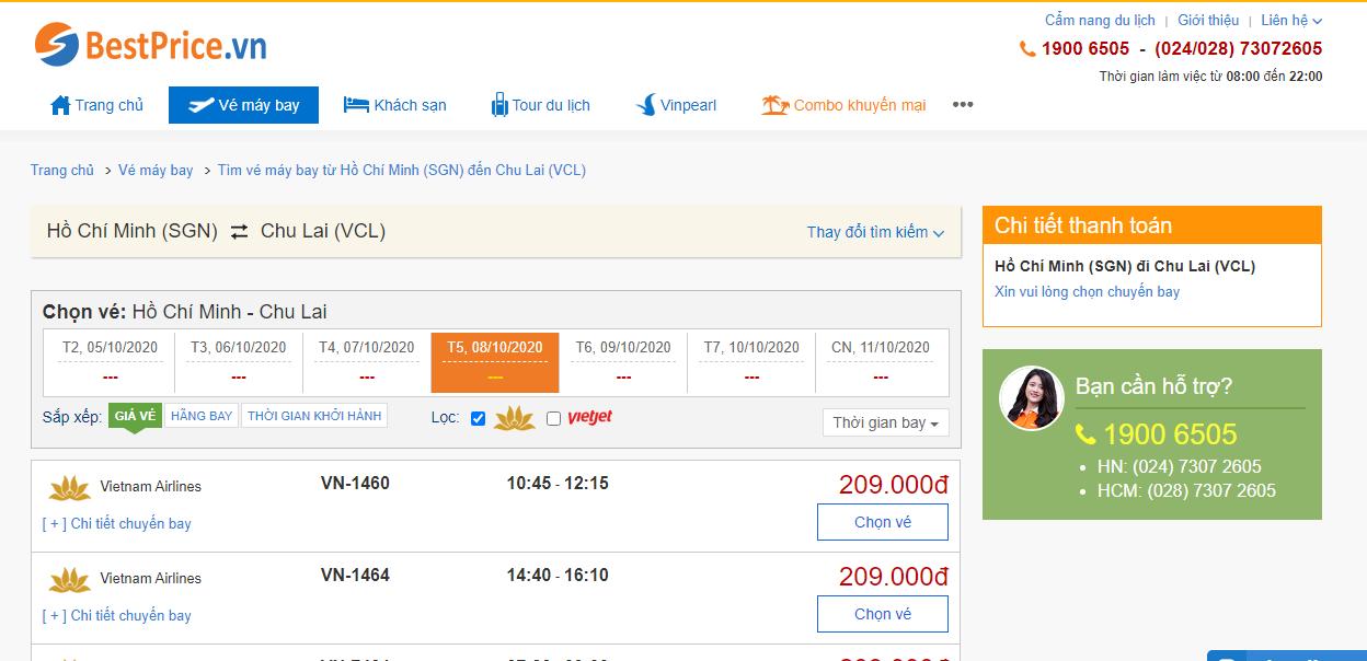 Vé máy bay đi Chu Lai Vietnam Airlines