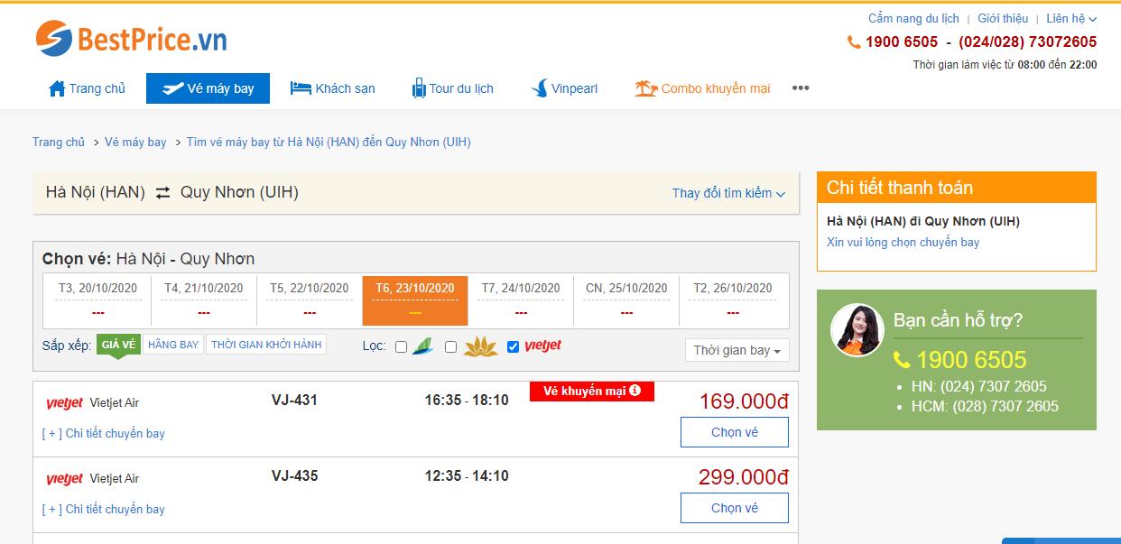 Vé máy bay đi Quy Nhơn Vietjet Air