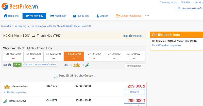 Vé máy bay đi Thanh Hóa tháng 1