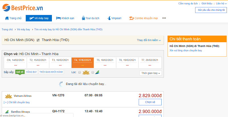 Vé máy bay đi Thanh Hóa tháng 2