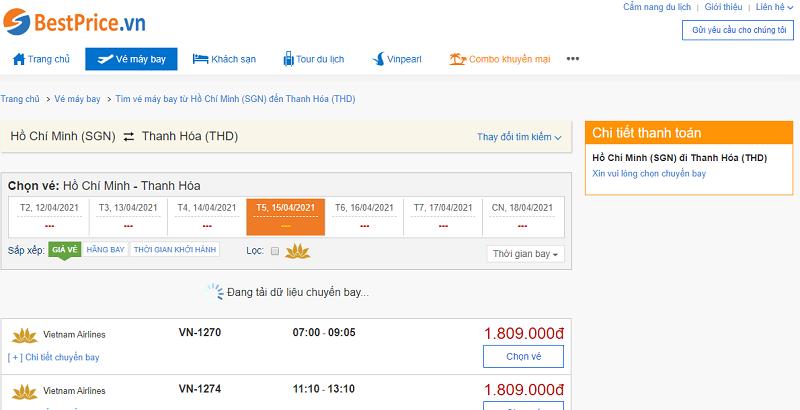 Vé máy bay đi Thanh Hóa tháng 4