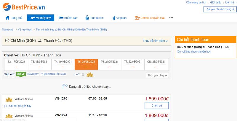 Vé máy bay đi Thanh Hóa tháng 5
