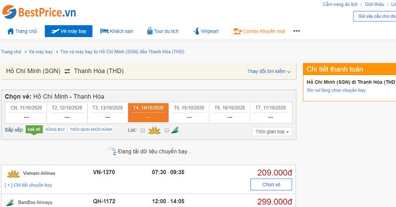 Vé máy bay đi Thanh Hóa tháng 10