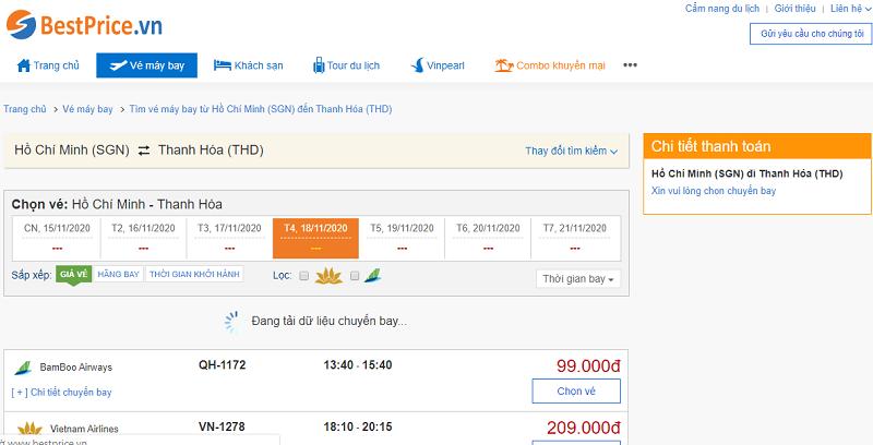 Vé máy bay đi Thanh Hóa tháng 11